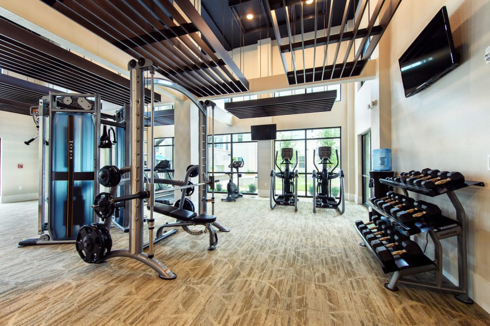 Upscale Fitness Center at Park Rowe Village Apartments in Baton Rouge, Louisiana