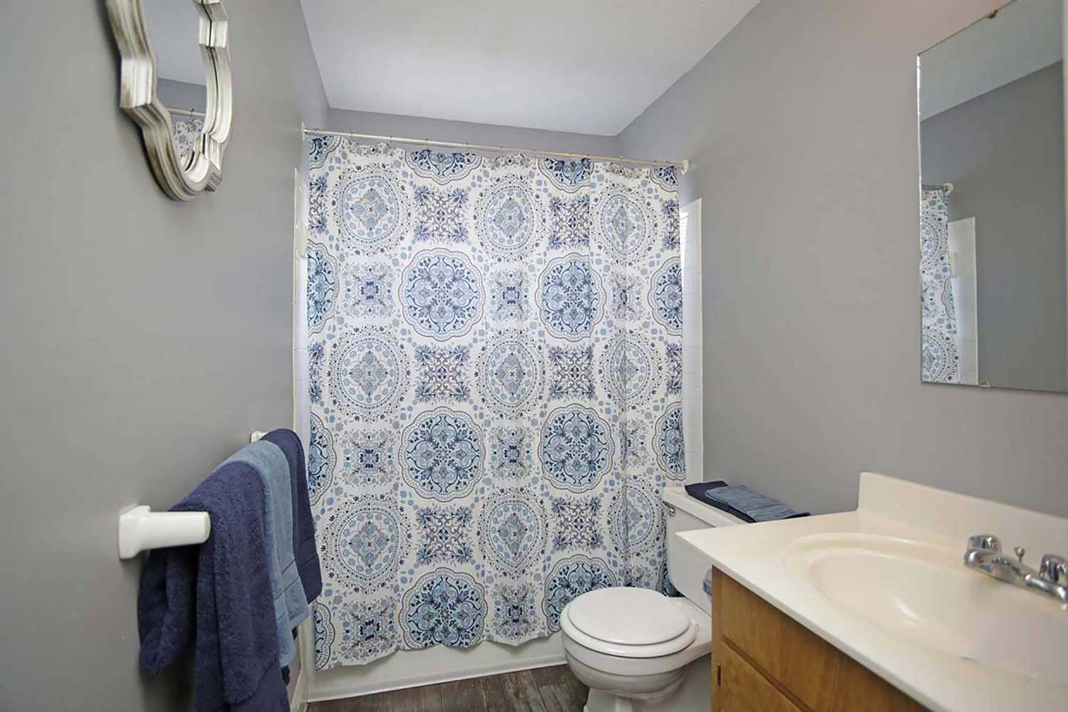 Bathtub and Shower at Parkville Place Apartments in Parkville, MO
