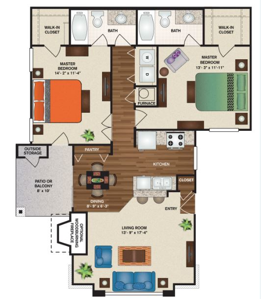 Patterson Place Apartments - Floorplan - Aberdeen Full Deluxe