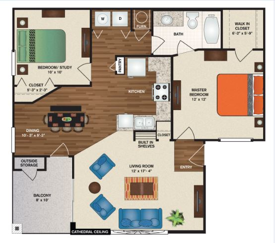 Patterson Place Apartments - Floorplan - Cambridge Full Deluxe