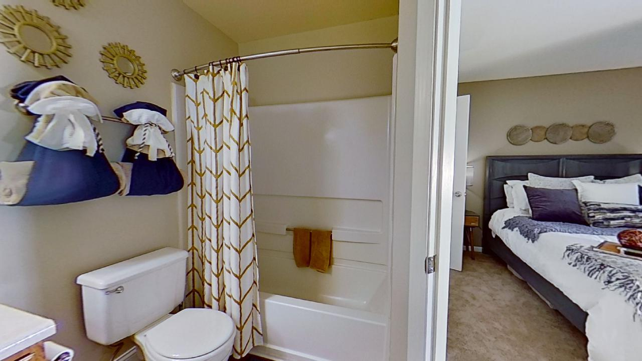 Shower and Tub at Patterson Place Apartments in Saint Louis, Missouri