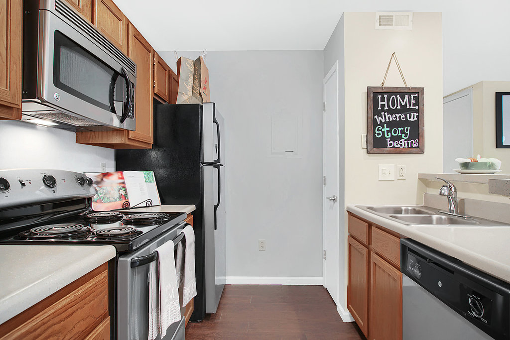 Equipped Kitchen at Patterson Place Apartments in Saint Louis, Missouri