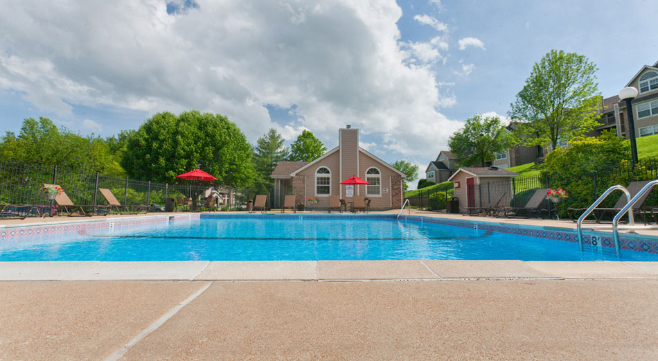 Sparkling Pool at the Patterson Place Apartments in Saint Louis, MO