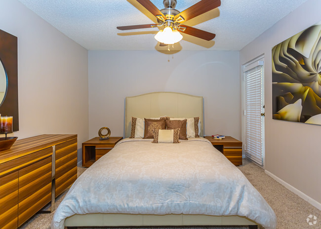 Bedroom with Ceiling Fan at Pepper Cove Apartments in Miami, FL