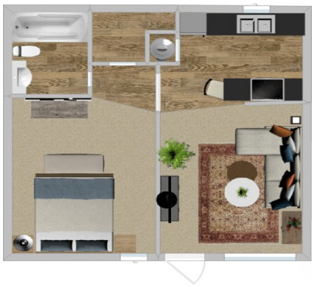 Peppertree Apartment Homes - Floorplan - 1Br 505
