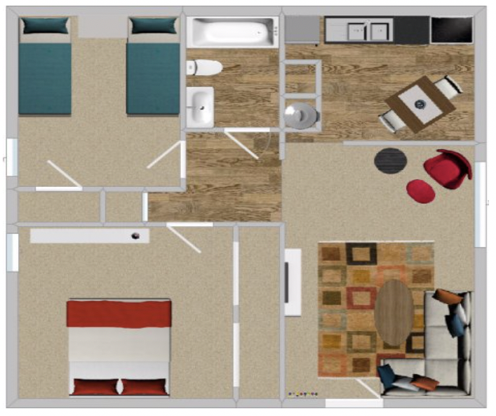 Peppertree Apartment Homes - Floorplan - 2BR 824