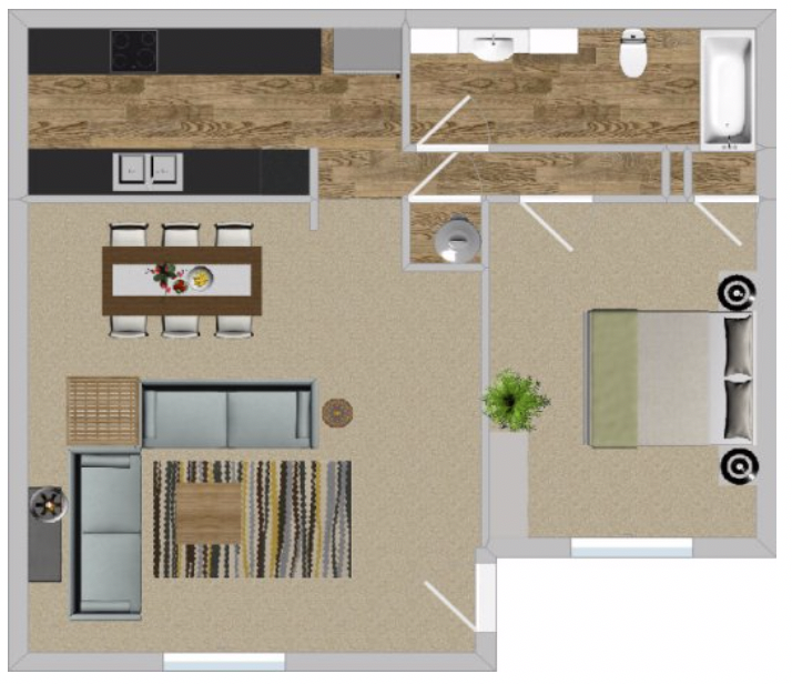 Peppertree Apartment Homes - Floorplan - 1BR 663