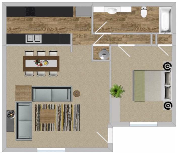 Floorplan - 1BR 663 image