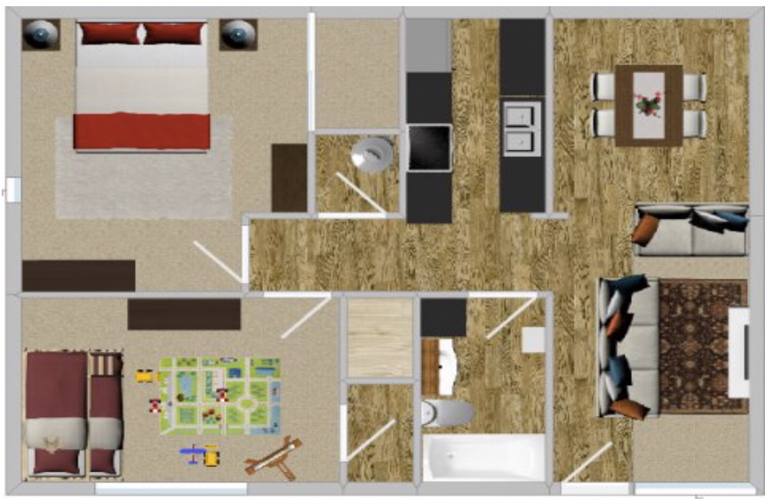 Peppertree Apartment Homes - Floorplan - 2BR 863