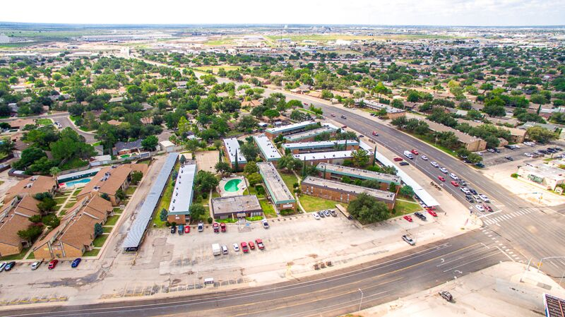 Birds Eye View of Peppertree Apartments in Odessa, Texas