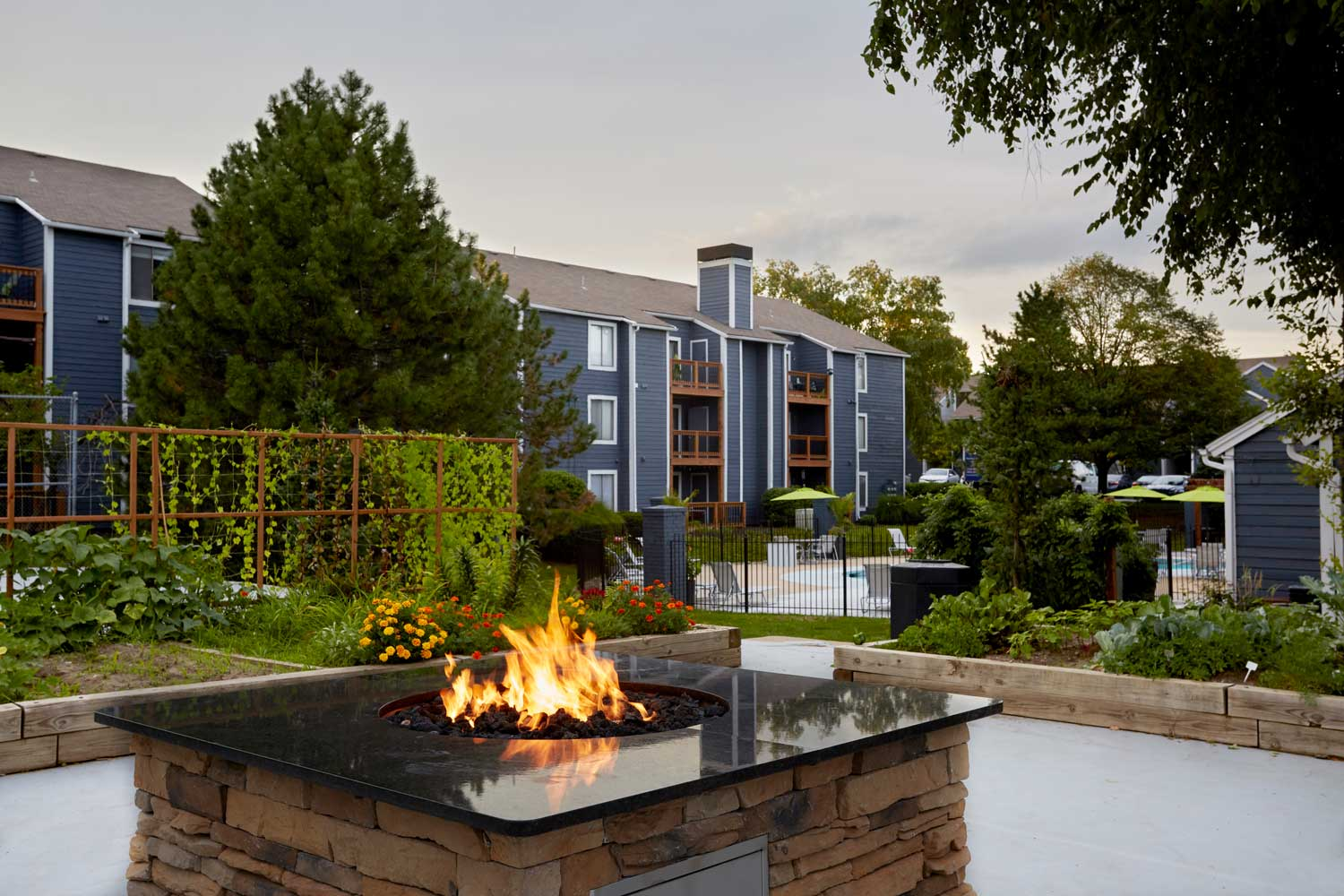 Outdoor Fire Pit at Perry 81 Apartments in Overland Park, Kansas