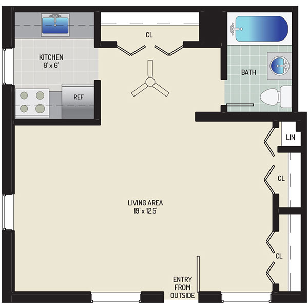 Pinewood Plaza Apartments - Floorplan - Studio