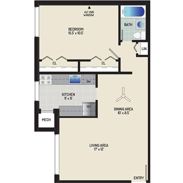 Pinewood Plaza Apartments - Floorplan - 1 Bedroom + 1 Bath