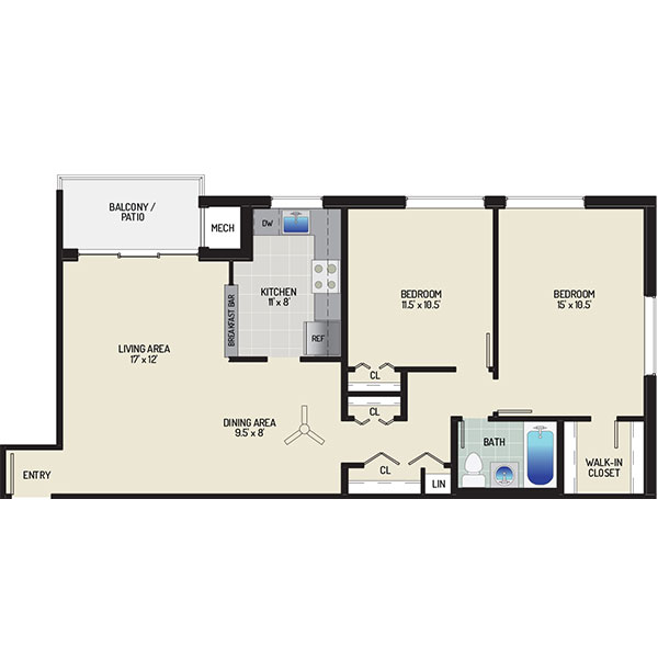 Pinewood Plaza Apartments - Floorplan - 2 Bedrooms + 1 Bath