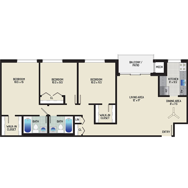 Floorplan - 3 Bedrooms + 2 Baths image