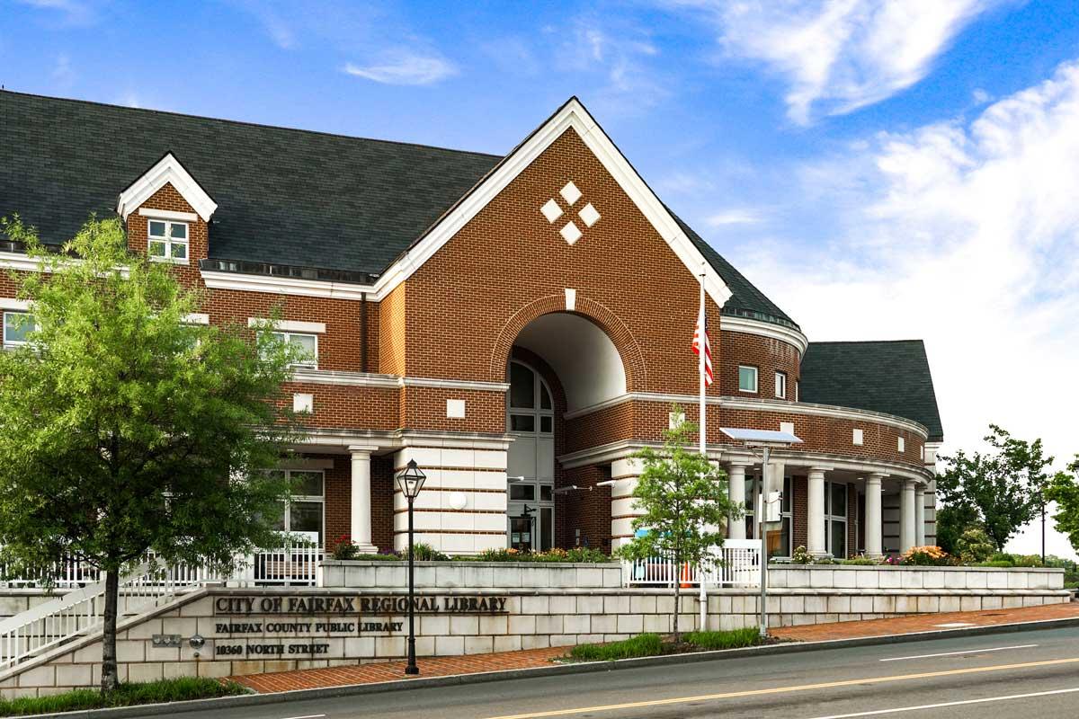 City of Fairfax Regional Library is 5 minutes from Pinewood Plaza Apartments in Fairfax, VA