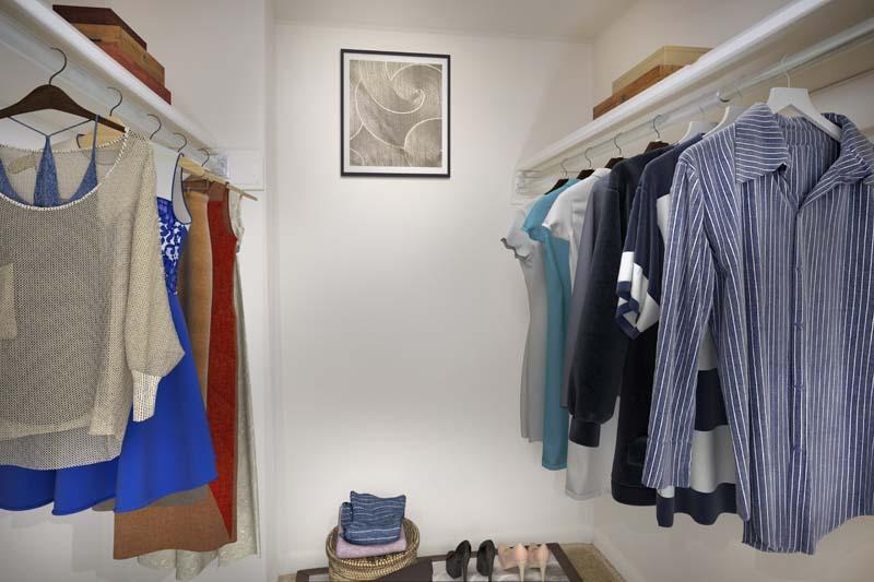 Spacious walk-in closets available at Pinewood Plaza Apartments in Fairfax, VA
