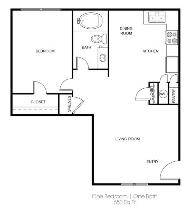 Floorplan - 1 BR image
