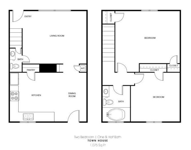 Pointe Ann Apartments - Floorplan - 2 BR Townhouse