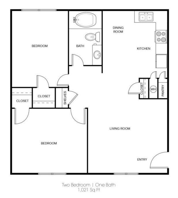 Floorplan - 2 BR image