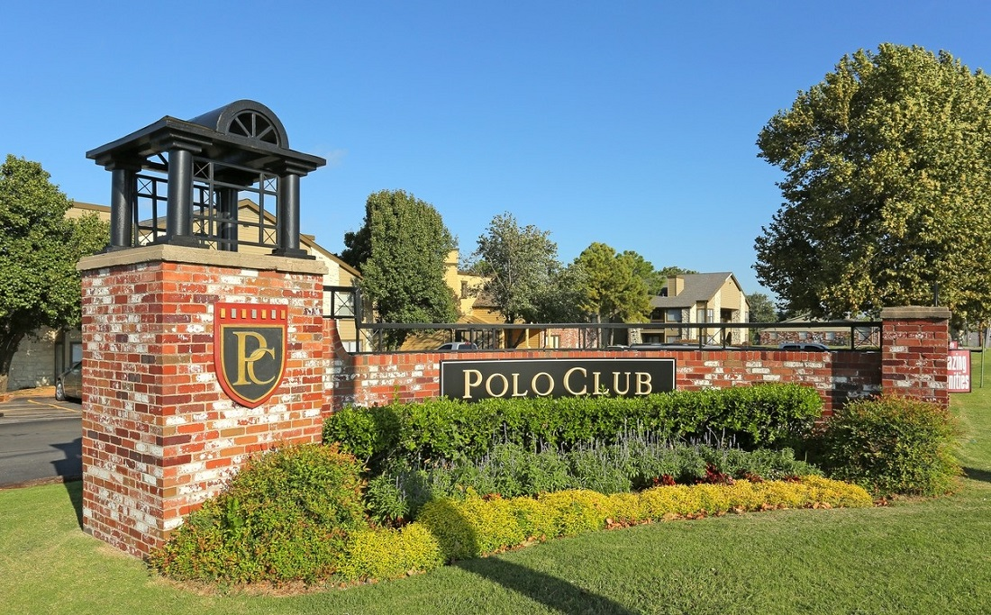Welcome Sign at the Polo Club Apartments in Tulsa, OK
