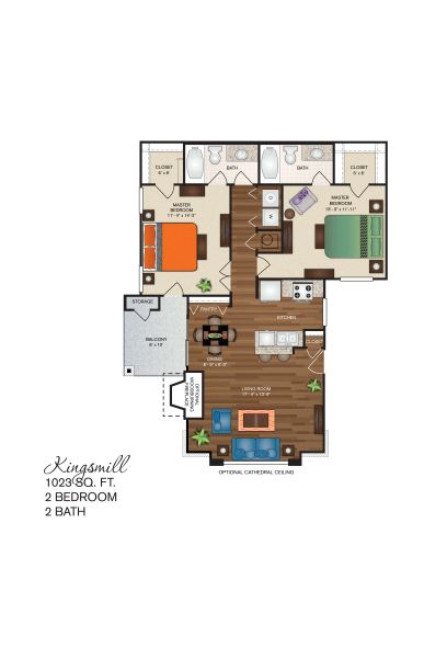 Polo Downs Apartments - Floorplan - The Kingsmill Deluxe