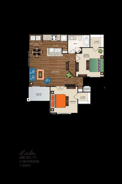 Polo Downs Apartments - Floorplan - The London Deluxe