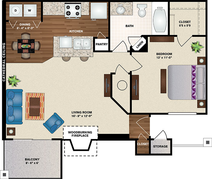 Polo Downs Apartments - Floorplan - The Abby Deluxe