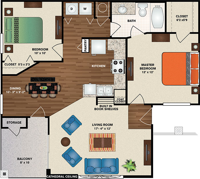 Polo Downs Apartments - Floorplan - The Easton Deluxe