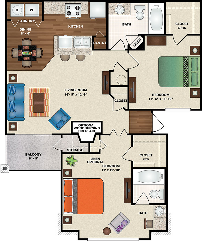 Polo Downs Apartments - Floorplan - The Westminster Deluxe