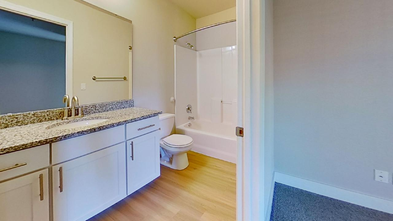 Deluxe Bathroom with white cabinets and granite counters