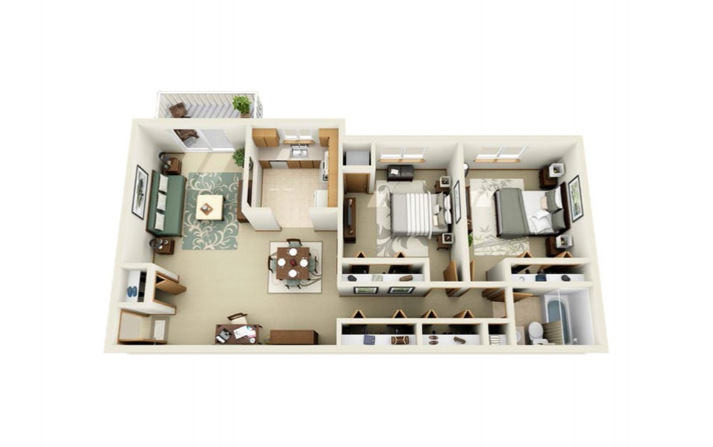 Portage Pointe Apartments - Floorplan - 2 Bed 1 Bath