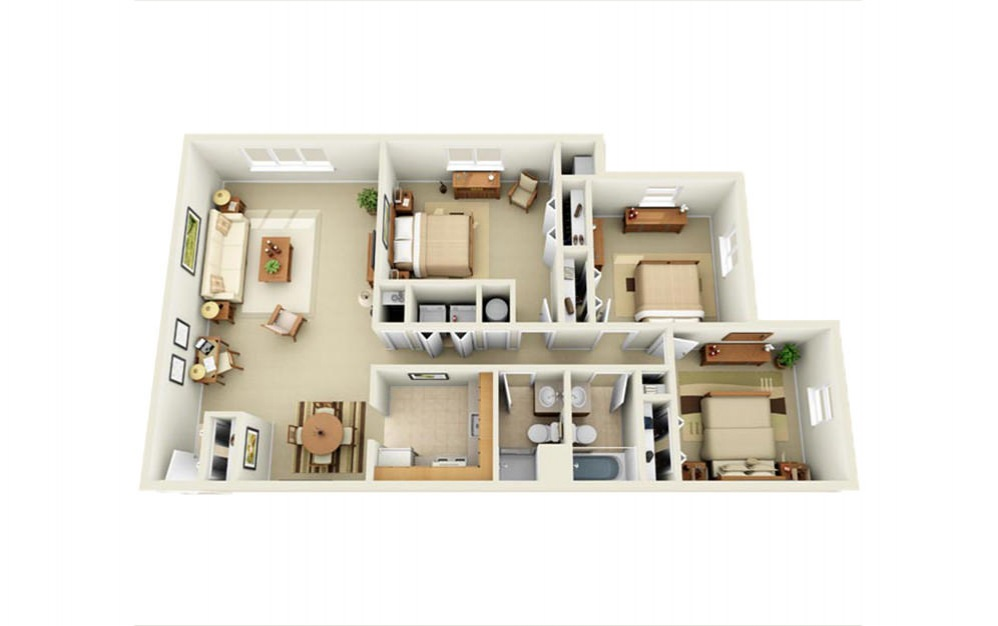 Portage Pointe Apartments - Floorplan - 3 Bed 2 Bath
