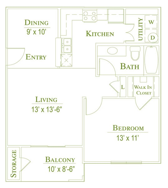 Post Oak East Apartments - Floorplan - Plan A1