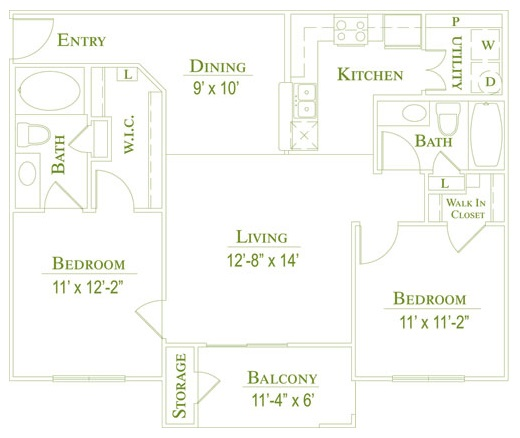 Post Oak East Apartments - Floorplan - Plan B1