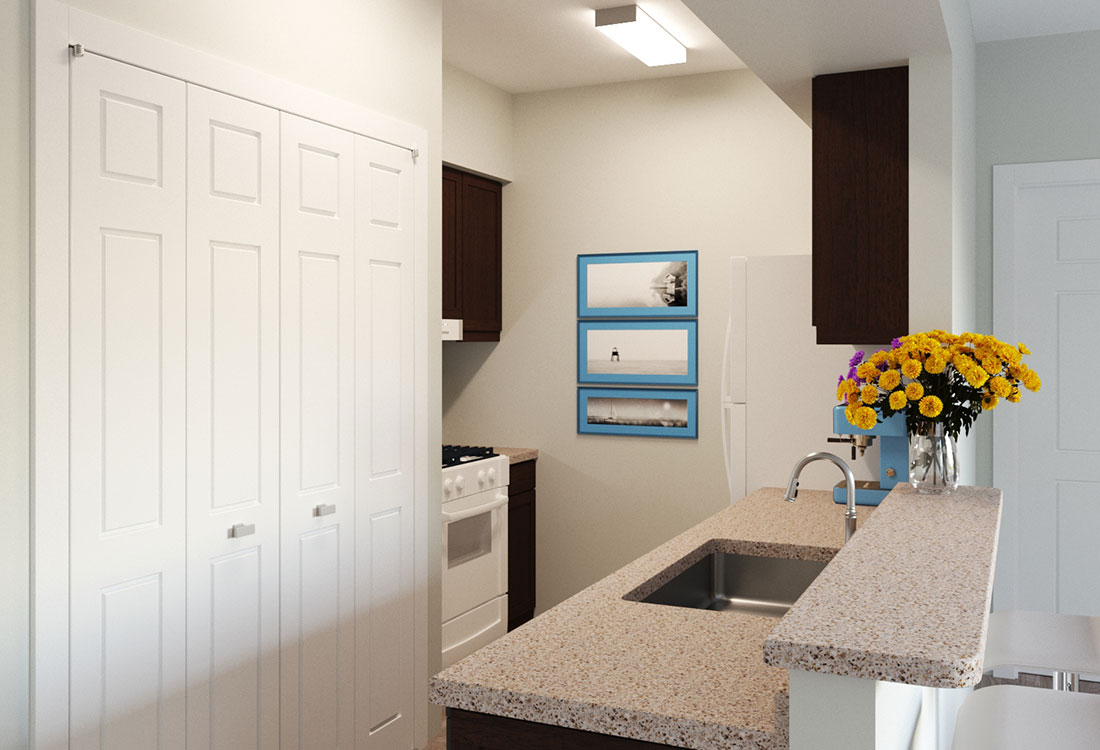 Fully-Equipped Kitchens with In-Home Washer & Dryer at Prairie Spring Apartments in Omaha, Nebraska