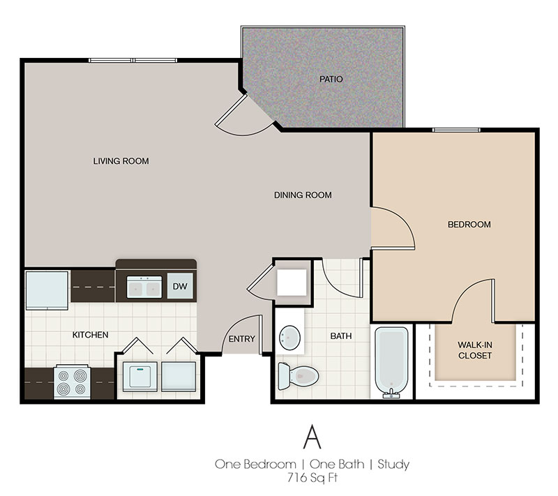 One Bedroom Floor Plan at Prairie Spring Apartments in Omaha, Nebraska