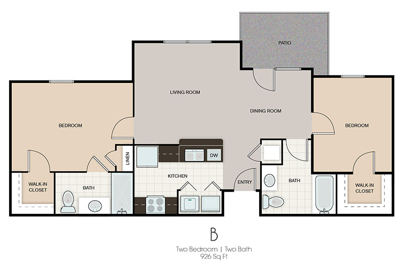 Two Bedroom Floor Plan at Prairie Spring Apartments in Omaha, Nebraska