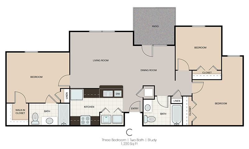 Three Bedroom Floor Plan at Prairie Spring Apartments in Omaha, Nebraska