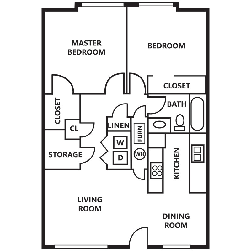 Floorplan - 2 Bedroom (Furnished Available!) image