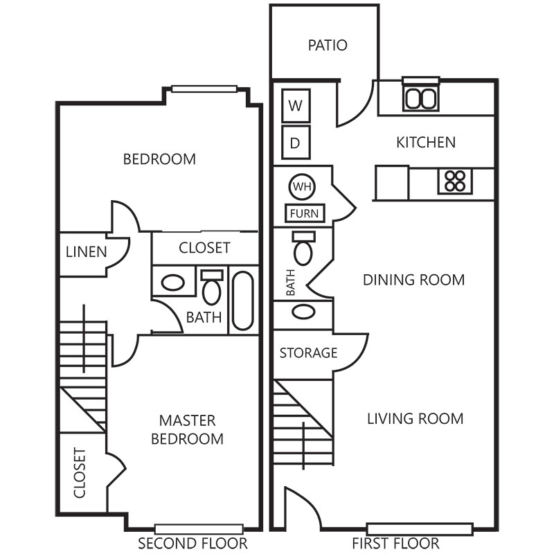 Floorplan - 2 Bedroom Townhome - Upgraded image