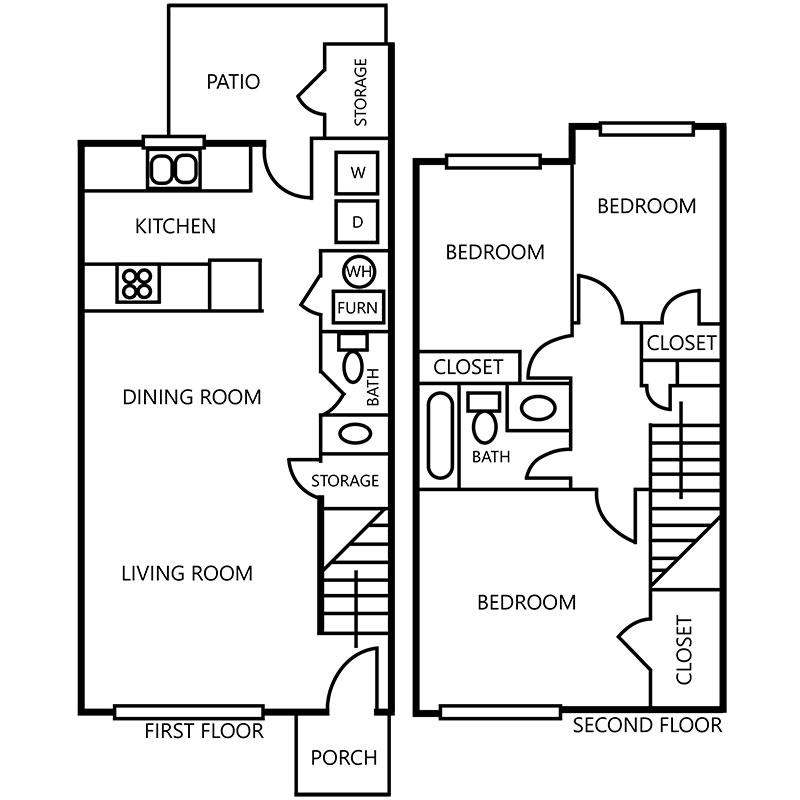 Floorplan - 3 Bedroom Townhome - Upgraded image