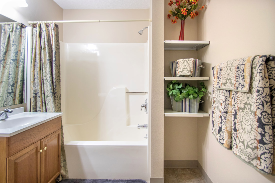 Spacious Bathrooms at Prairie West Apartments in Ames, IA