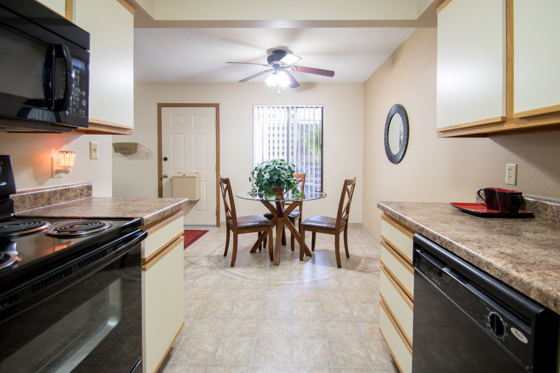 Black Kitchen Appliances at Prairie West Apartments in Ames, IA