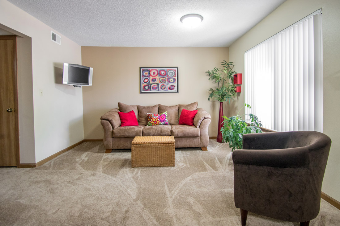 2 & 3 Bedroom Apartments for Rent with Spacious Living Rooms at Prairie West in North Ames, IA.