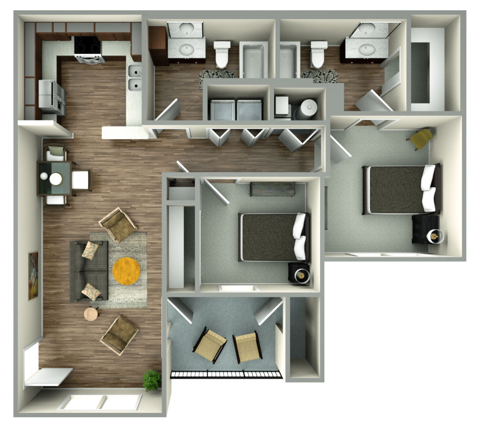 The Reserves at Preston Trails - Floorplan - 2bed