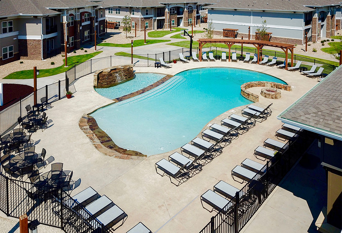 Aerial View of the Pool at The Reserves at Preston Trails Apartments in Wolfforth, TX
