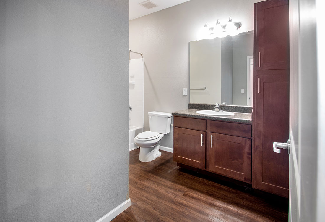 Single Vanity Bathroom at The Reserves at Preston Trails Apartments in Wolfforth, TX