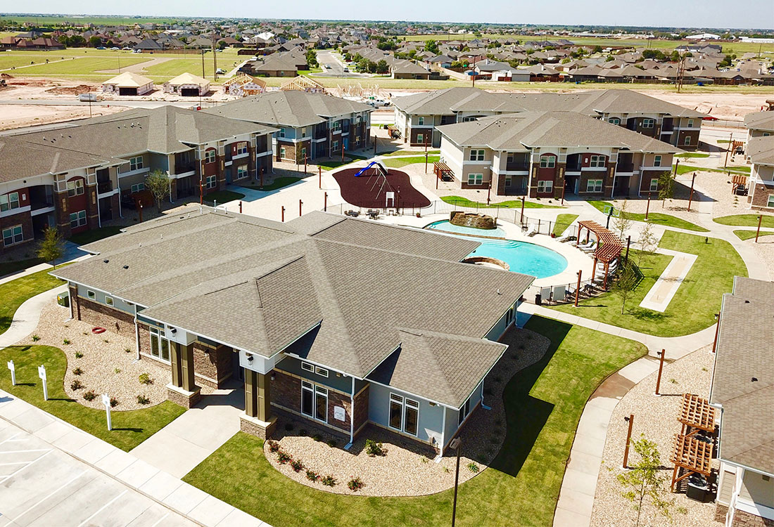 Aerial View of the Community at The Reserves at Preston Trails Apartments in Wolfforth, TX