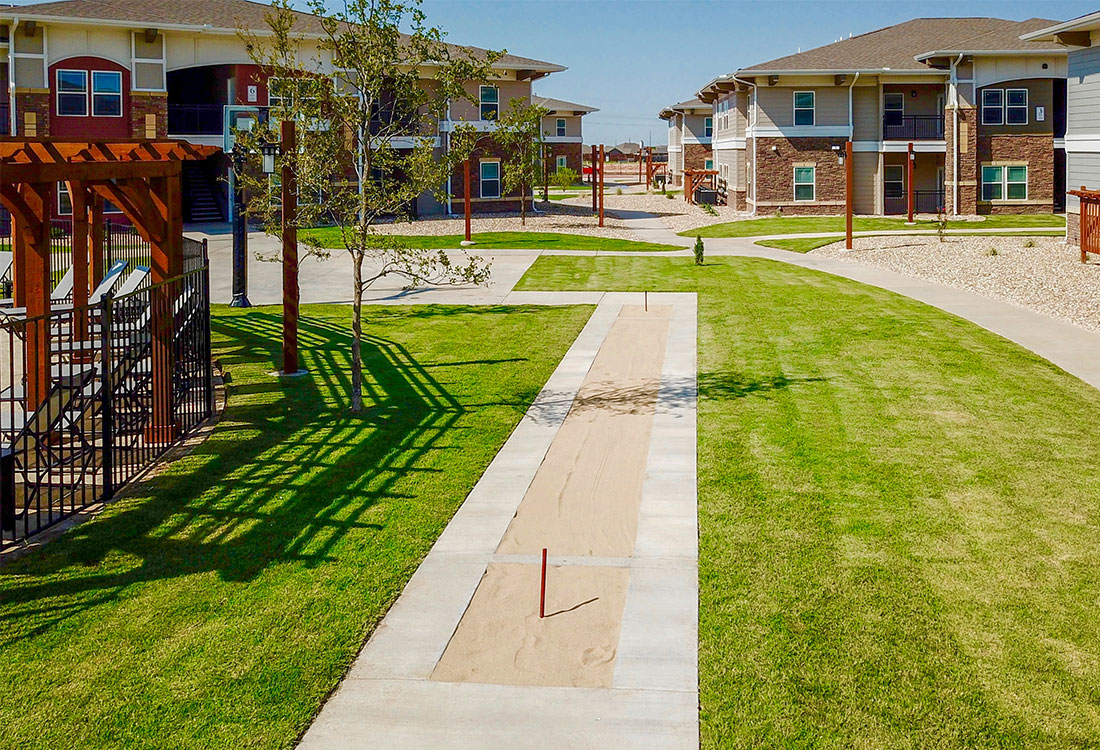 Gorgeous Landscaping at The Reserves at Preston Trails Apartments in Wolfforth, TX